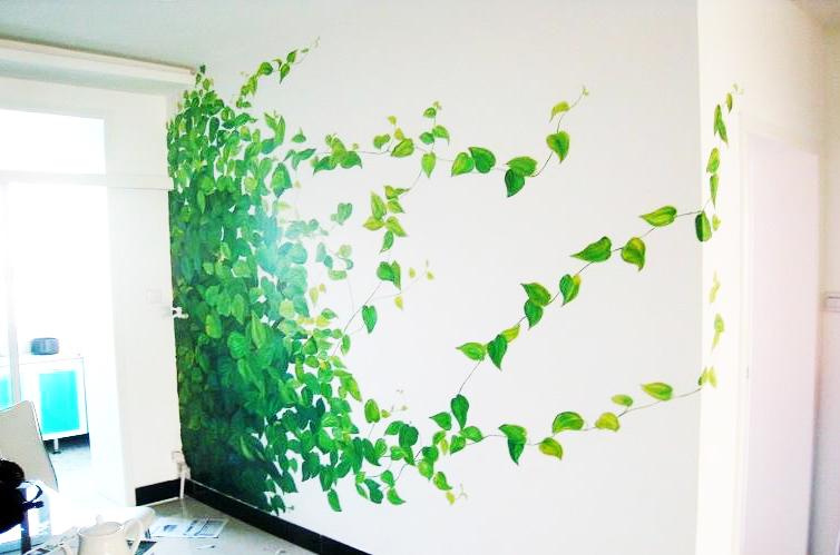 手绘壁画-把绿色森林种到卧室!